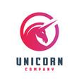 circular unicorn horse logo design vector image