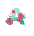 color letter a with beautiful flowers vector image vector image