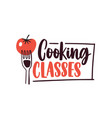 cooking lessons flat logotype cartoon vector image