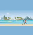 couple running on beachl andscape background vector image vector image