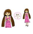 cute girl long hair hand drawn style vector image