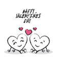 drawing cute hearts couple painted brush strokes vector image