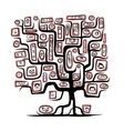 Family tree sketch with people portraits for your vector image