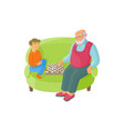 flat grandfather and grandson playing chess vector image vector image