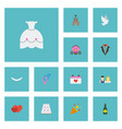 flat icons pigeon patisserie jewelry and other vector image vector image