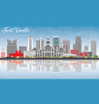 fort worth skyline with gray buildings blue sky vector image vector image