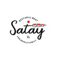fun simple satay logo stamp badge vector image vector image