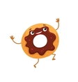 Funny donut character with chocolate glazing and vector image vector image