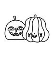 happy halloween celebration scary pumpkins vector image