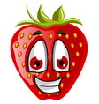 happy strawberry face on white background vector image