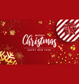 holiday new year card - merry christmas on red vector image vector image