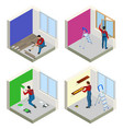 home repair isometric concept set with workers vector image vector image