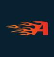 letter a flame logo speed logo design concept vector image