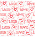 love hearts and handwritten lettering love vector image vector image