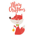 merry christmas poster congratulation from fox vector image vector image