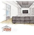 Modern Watercolor Interior Design vector image