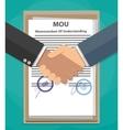 MOU memorandum of understanding handshake vector image vector image