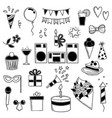 party icons funny birthday disco music party vector image