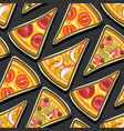 pizza seamless pattern vector image vector image