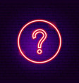 question button neon sign vector image vector image