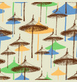 reed beach umbrellas colorful seamless pattern vector image