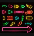 set colorful neon arrows and pointers vector image vector image