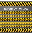 Set of black and yellow seamless caution tapes vector image