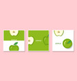 set of fruit banners with apple in paper art style vector image vector image