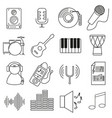 set of icons in line style musical instruments vector image vector image