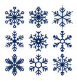 snowflakes icons set of snowflakes texture vector image vector image