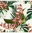 tropical beautiful flowers pretty pattern vector image vector image