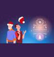 two men wearing santa hats christmas and new year vector image vector image