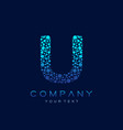 u letter logo science technology connected dots vector image vector image