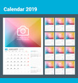 wall calendar planner template for 2019 year vector image vector image