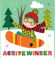 winter poster with boy on snowboard vector image vector image