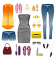 woman clothes decorative icons flat set vector image