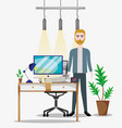 worker inside office vector image
