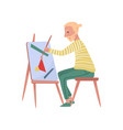 young bearded man sitting on chair painting on vector image vector image