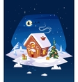 House in the forest Christmas card poster or vector image
