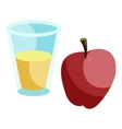 Glass of drink and red apple icon cartoon style vector image