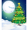 A tall christmas tree standing in a snowy area vector image vector image