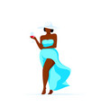 attractive plus size woman walking with glass of vector image