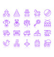 baby toy simple color line icons set vector image