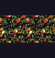 black pattern with tomato plant and butterfly vector image