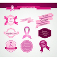 Breast cancer care awareness ribbon and stamps vector image vector image