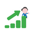 businessman character sitting on sales bar graph vector image