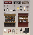 cafe bar interior set vector image