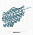 Doodle sketch of Afghanistan map vector image