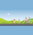 family are riding on bicycles along on a sunny vector image vector image