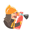 firefighter in safety helmet and protective suit vector image vector image